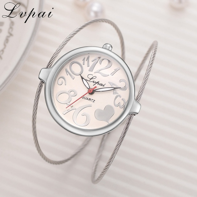 Lvpai Ladies Alloy Bracelet Watch Fashion Luxury Strap Women Dress Watches Heart