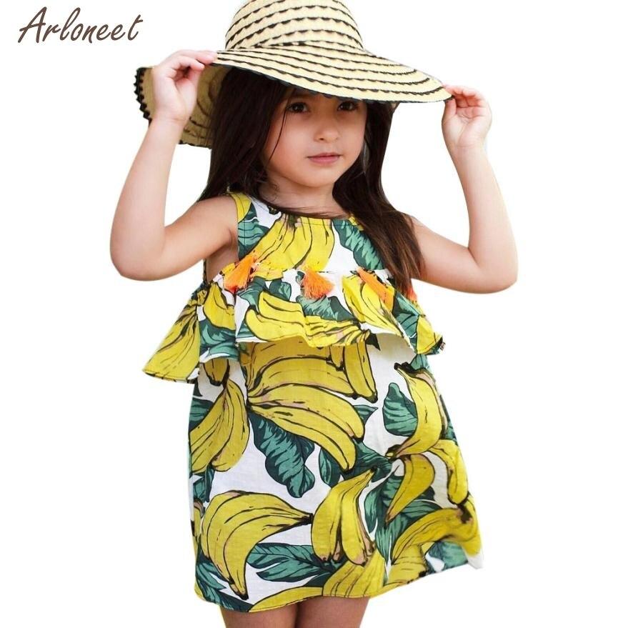 2018 kleider baby mädchen kleidung pattren banana sleeveless baby kleid sommer JAN11