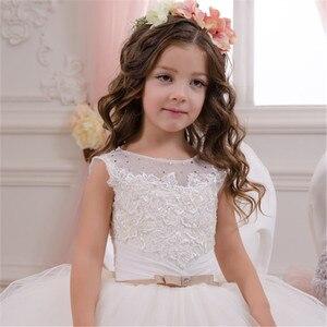 Image 3 - Bianco Vestito Dalla Ragazza di Fiore Bambini Pageant Compleanno Del Partito Convenzionale Del Vestito Lungo di Pizzo Bowknot Vestito della Prima Comunione Prom Abito 2 14Y