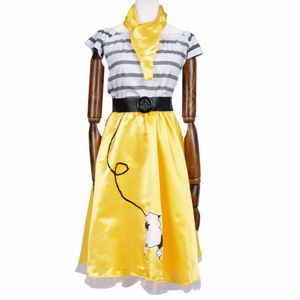 Party Dress Girl Juke Box Queen Costume Women Yellow Summer Casual Toy Poodle Print Off Shoulder Slim Ladies Stripes Dress