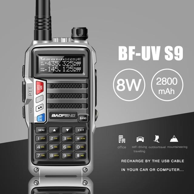 "2020 BaoFeng UV S9 עוצמה ווקי טוקי CB רדיו משדר 8W 10 ק""מ ארוך טווח נייד רדיו עבור ציד יער עיר שדרוג 5r"