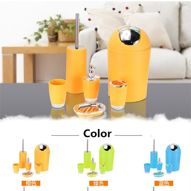 6pcs/set Bathroom Accessories Sets Toothpaste Tooth Brush Hoder Hand Soap Shampoo Storage Bottle With Press Swith Toilet Cleaner