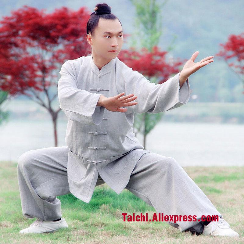 Long Sleeved  Male Handmade  Linen Tai Chi Uniform Wushu Kung Fu Shaolin Training Suit Color Gray Green Brown Wine