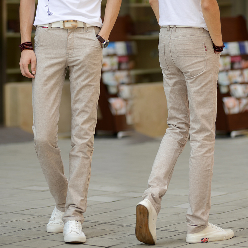 LD Mens Solid Cotton Linen Straight Leg Slim Fit Casual Dress Pants Trousers