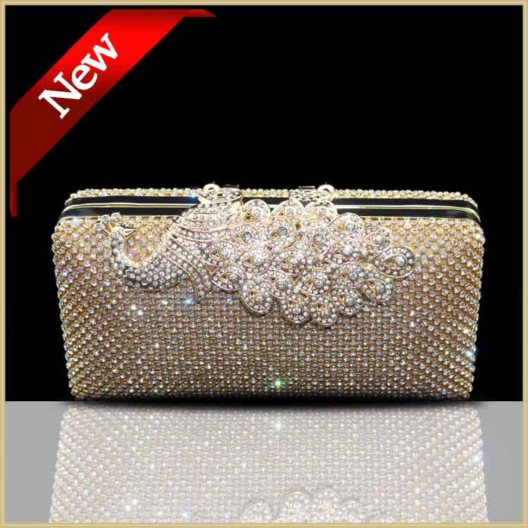 Luxury Clutch Ladies crystal Evening Clutch Bag Peacock Bag Gold ...