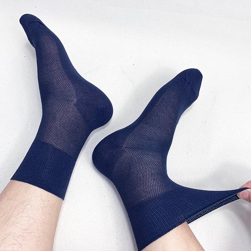 Fcare 10PCS=5 Pairs 39-43 Men Summer Thin Mesh Socks Cotton Hypertension Diabetes Socks With No Binding Top