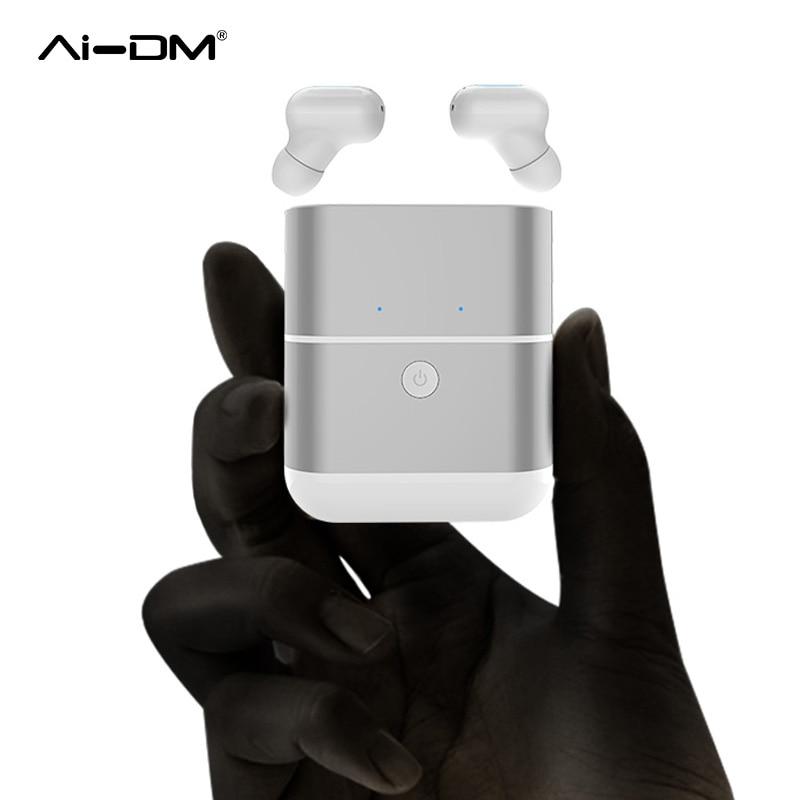 AIDM TWS X2 Aparelhos Touch Fones De Ouvido Sem Fio Fones De Ouvido Bluetooth 4.2 Esportes fone de Ouvido Fones De Ouvido Estéreo com Microfone + Portable Power Bank