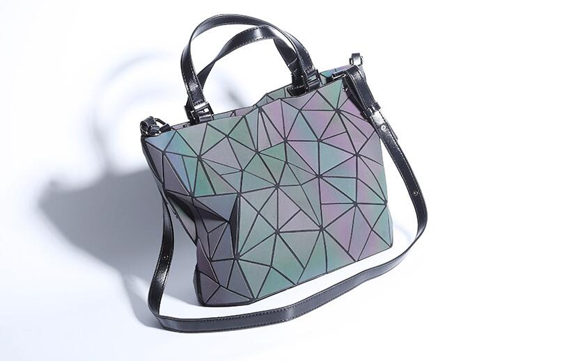 Geometric Luminous Purses and Handbags Holographic Flash Reflective Leather Rainbow Tote 1