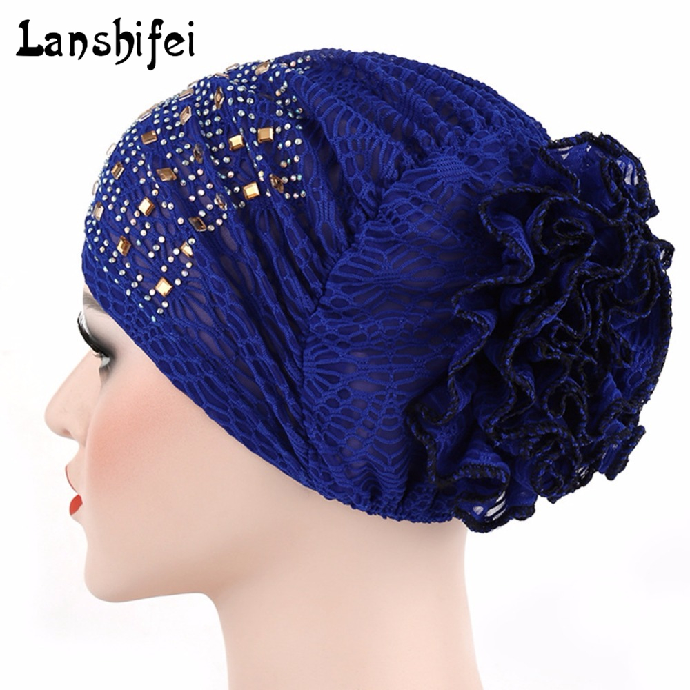 Women Cotton Skullies Beanies Rhinestone Covering Head Hat Fashion Discoid Flower Pattern Chemotherapy Cap Free Size 6 Colors skullies