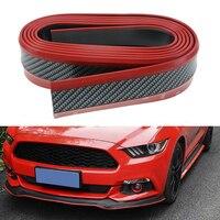 Red Black Samurai Carbon Fiber 2 5M Car Front Bumper Lip Protector Rubber Splitter Valance Chin