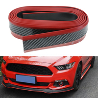 Red Black Samurai Carbon Fiber 2 5M Car Front Bumper Lip Protector Rubber Splitter Valance Chin