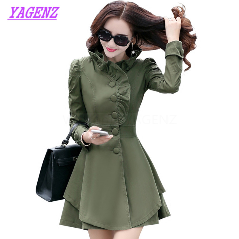 Spring Autumn Windbreaker Coat Women Korean Slim Long Elegant   Trench   coat Young Women Lace neckline Single-breasted Overcoat 301