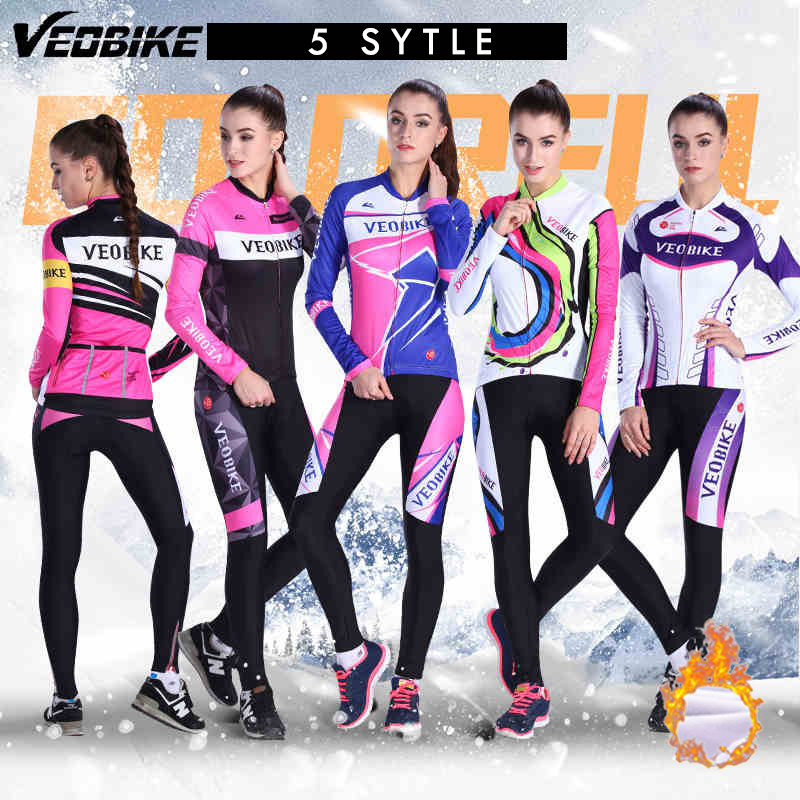 Veobike 5 Style 2017 Winter Women Cycling Clothing Long sleeve Thermal Fleece Set team Bicycle jersey MTB Outdoor Ropa ciclismo veobike cycling jersey ciclismo 2017 pro team 8 style men s winter long sleeve bike set mtb bicycle wear ropa ciclismo invierno