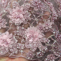 onion color handmade french beaded lace fabrics 2018 3d flower sequins fabric luxury full beaded bridal lace fabric 5yards IG540