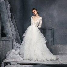 Verngo 2021 קוריאה קו חתונת שמלת תחרה ארוך שרוולים V צוואר הכלה שמלות קפלי אורגנזה אלגנטי כלה שמלת Vestido noiva
