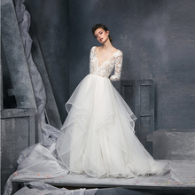 Verngo 2021 kore bir çizgi düğün elbisesi dantel uzun kollu V boyun gelin önlük Ruffles organze zarif gelinlik Vestido noiva