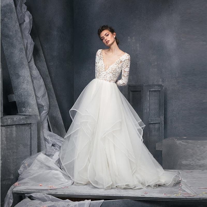 Verngo Ball Gown Wedding Dress Appliques Tulle Wedding Gowns Boho Wedding Dress Ivory Tiered Bride Dress Vestidos De Novia