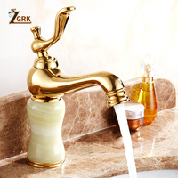 Marble faucet hot and cold basin jade taps full copper Golden lavatory faucet marble stone gold basin faucet