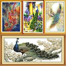 Joy sunday Beautiful peacock series Counted Cross Stitch Kits Cross-stitch set Embroidery Needlework