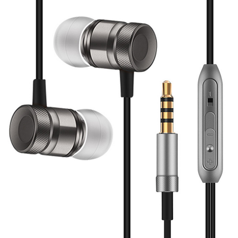 HLTON Sport In-Ear Earphone Metal Headphone Stereo Headset Heavy Bass Music Earbud 3.5mm Fone De Ouvido Auriculares With Mic