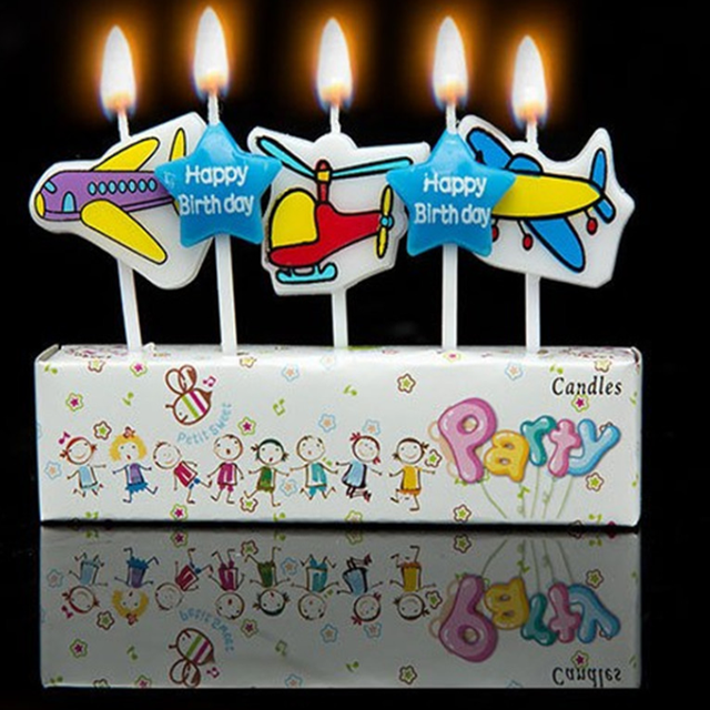 5 Pcs Set Kawaii Scented Birthday Candles Plane Cartoon Love Flameless Cake For Children Gift Happy Decoration