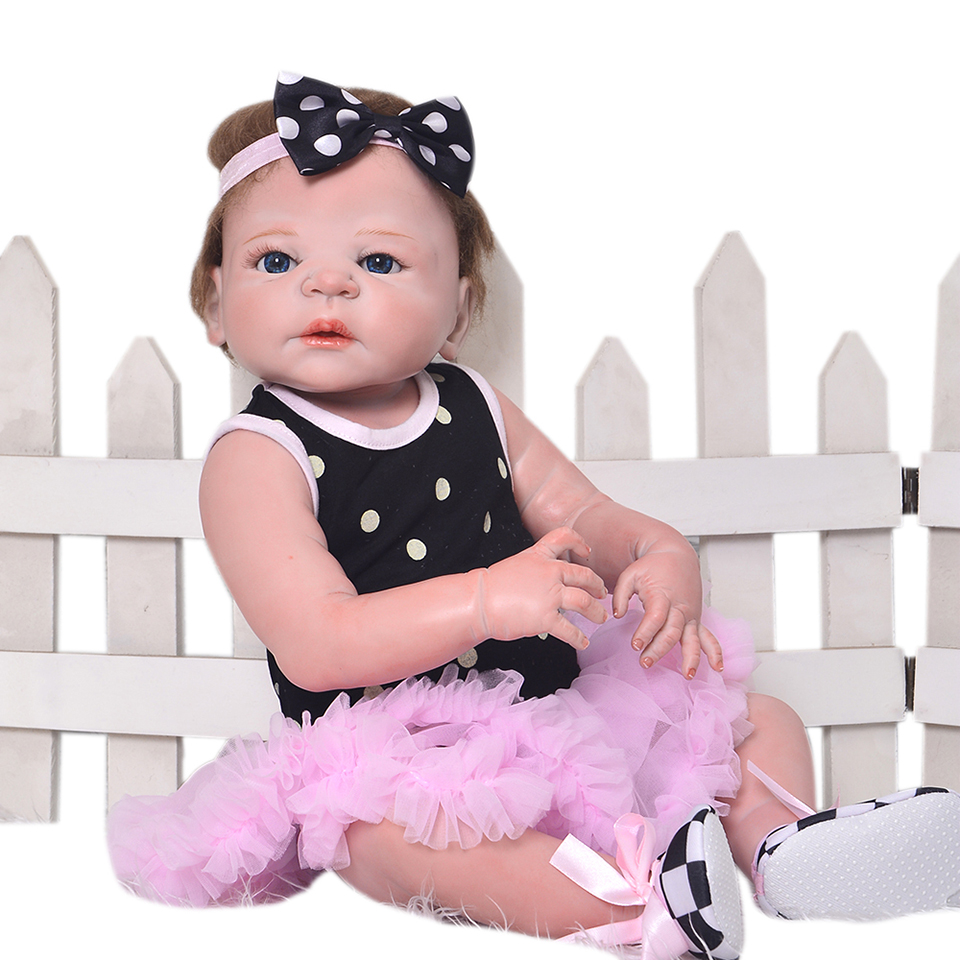 23 Inch Reborn Babies Doll Full Silicone Vinyl Alive Baby Dolls Realistic Princess Girl With Hair