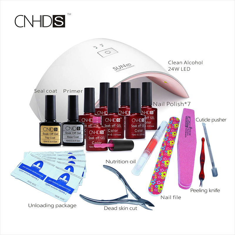 CNHIDS 24W UV Lamp+132 Color 9C UV/LED Gel lacquer+nail extensions gel Clean brushes Cutter files all for nail tool Manicure set cnhids nail art base tool 36w led uv lamp