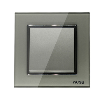 2019 New design EU Standard Wall Switch Luxury Grey Crystal Tempered glass, 1 Gang 1 Way Switch FB-01 1