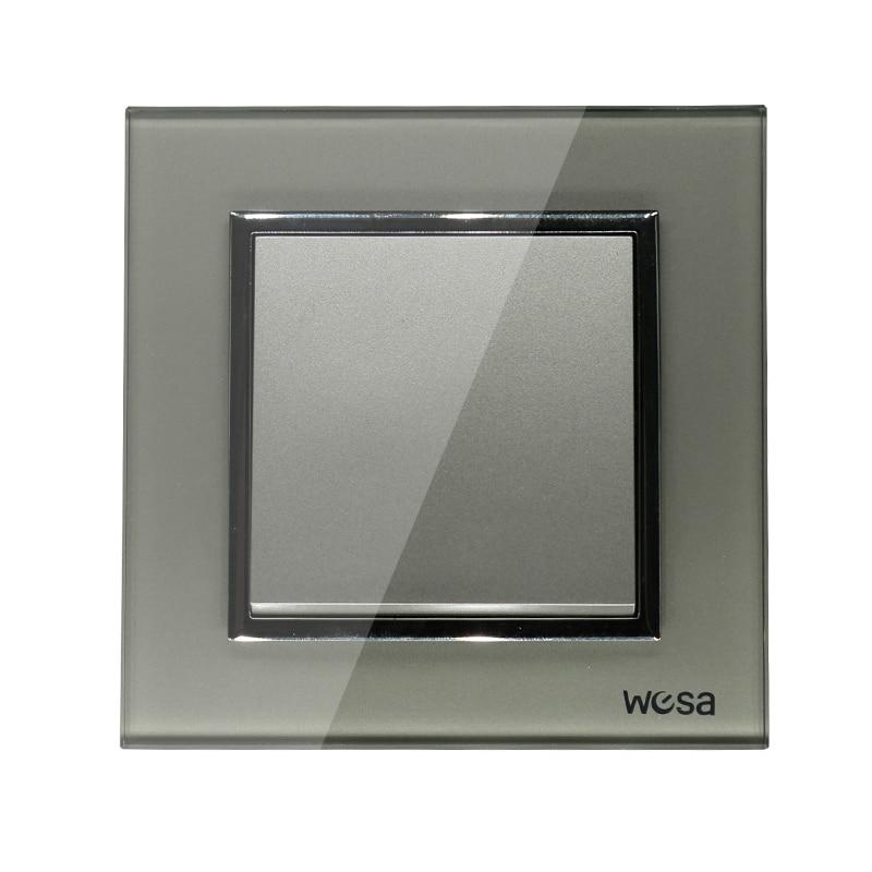 2019 New Design EU Standard Wall Switch Luxury Grey Crystal Tempered Glass, 1 Gang 1 Way Switch FB-01