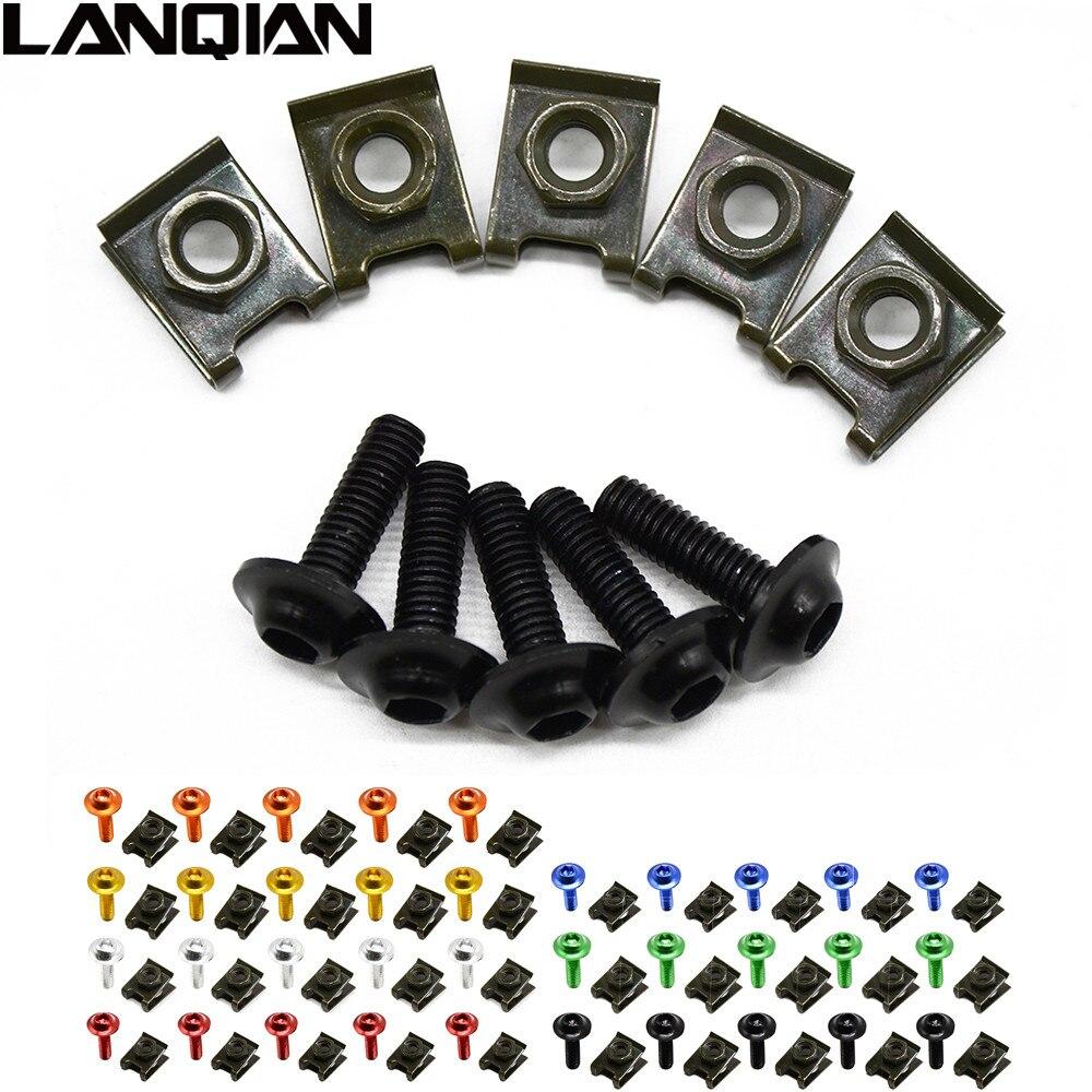 5pieces 6mm motorbike body fairing screwse For yamaha virago 535 ttr250 yz250 mt-03 mt-07 mt-09 wr raptor honda shadow 1100