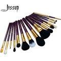 Jessup pro 15 unids pinceles de maquillaje herramienta pincel corrector polvos sombra de ojos delineador de labios púrpura/oro