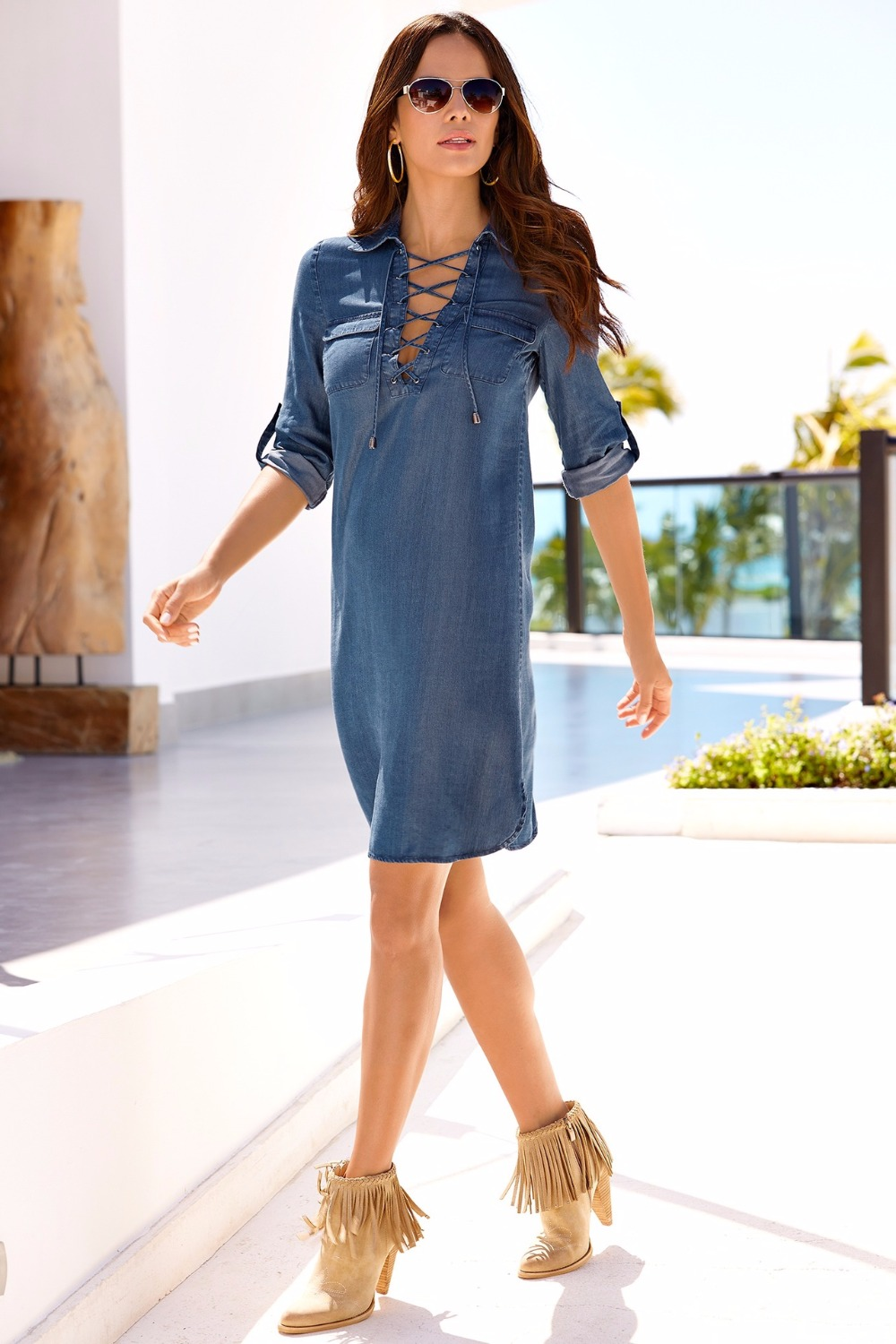 c2e26823f5 Chambray Lace Up Dress Denim Long Sleeve Denim Dress-in Dresses from  Women s Clothing on Aliexpress.com