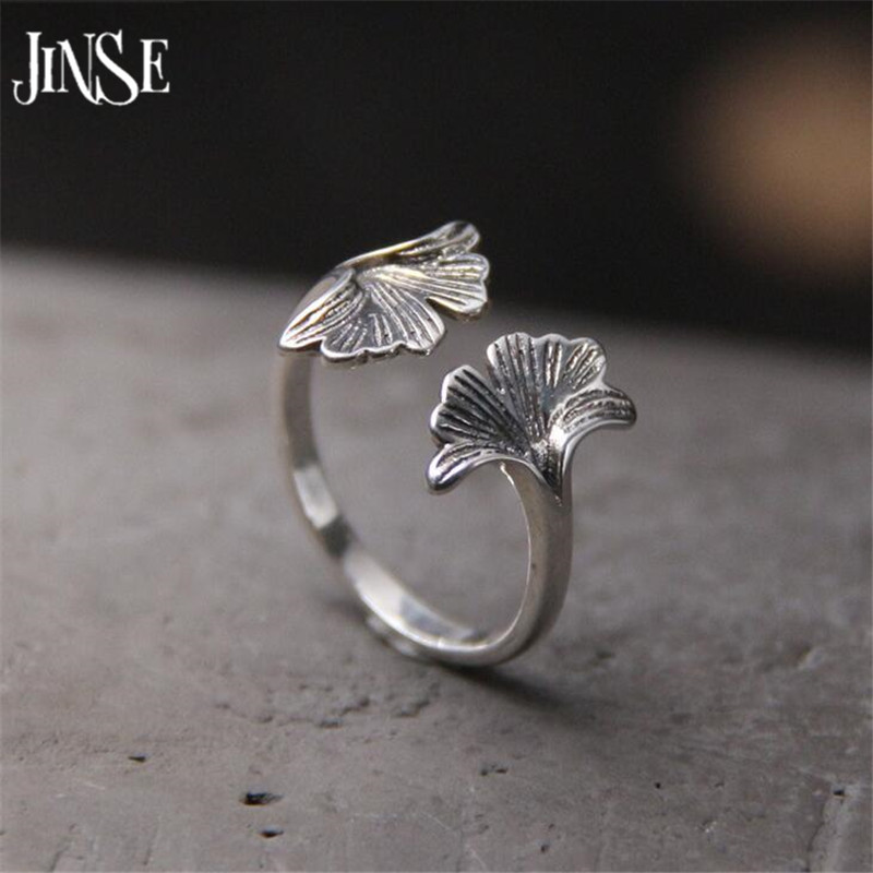 JINSE DIY Handmade Double Leaves Retro Style Geometric Ginkgo biloba s925 Sterling Silver Open Ring For Women Hot 12.44mm 2G