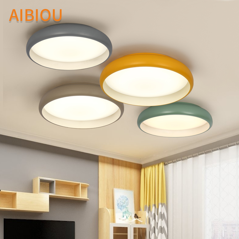 AIBIOU Modern LED Ceiling Lights Round Ceiling Lamp For Bedroom Designer Kithen Lighting Fixtures Colorful Metal Dining Light black and white round lamp modern led light remote control dimmer ceiling lighting home fixtures