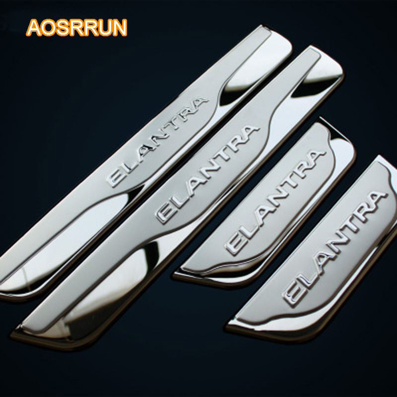 AOSRRUN Stainless steel Door sill scuff plate car accessories For Hyundai Elantra 2012 2013 2014 4PCS 1SET CAR COVERS