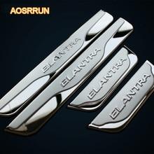 AOSRRUN Stainless steel Door sill scuff plate car accessories For Hyundai Elantra 2012 2013 2014 4PCS