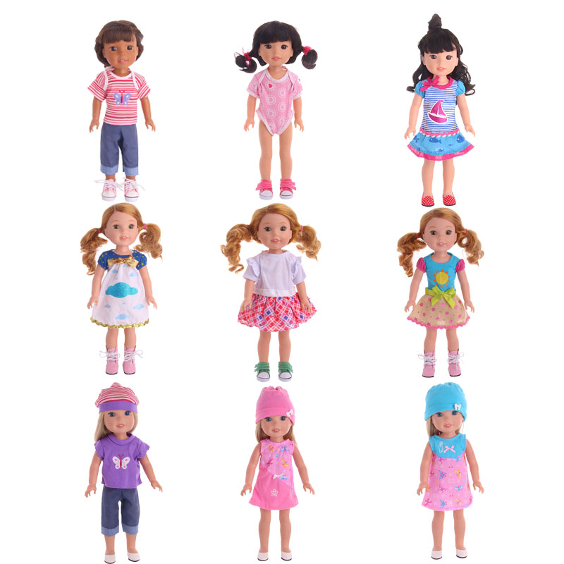 15 Styles Doll Clothes Choose 1=14.5 Inch American Doll Clothes Wellie Wishers Doll Dress Skirt For Our Generation Girl`s Toy