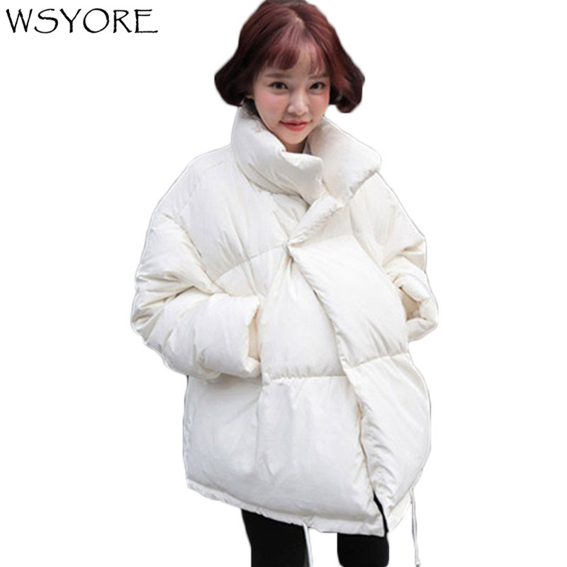 WSYORE White Color   Parkas   Mujer 2018 New Winter Loose Cotton Coat Women Casual Outwear Thick Winter Jackets and Coats NS460