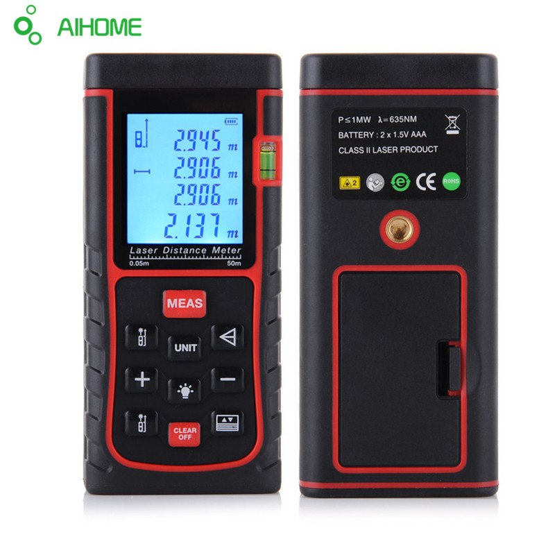 Rangefinder Tape Laser Digital Laser Distance Meter 50m 164ft Laser Range Finder Measure Distance Area Volume
