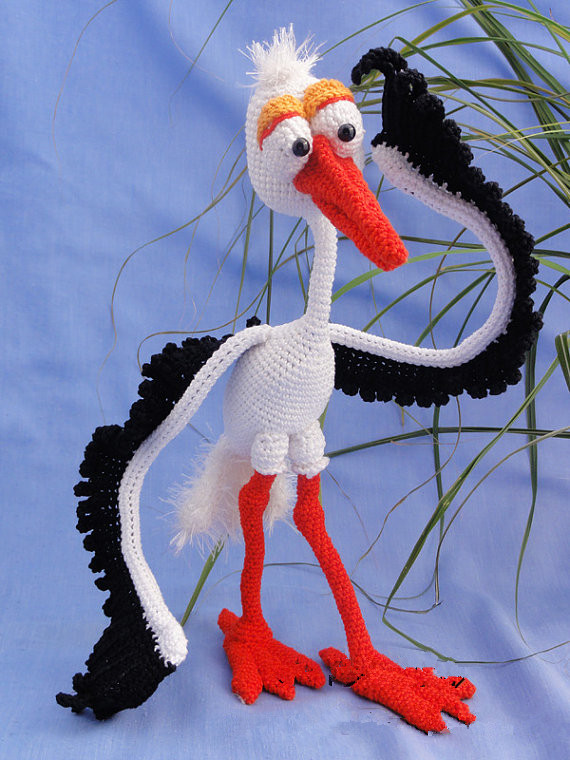Amigurumi Crochet the Stork toy doll rattle