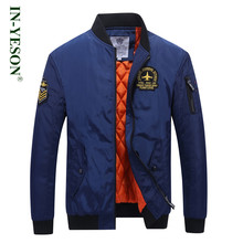 Fashion Thick Men's Bomber Jacket & Coat Brand IN-YESON Plant Letter Embroidery Windproof Warm Militar Pilot Jacket Men Big Size