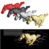 Universal 3D Horse Car Alloy Front Hood Grille Body Emblem Sticker For Ford Mustang Red Black