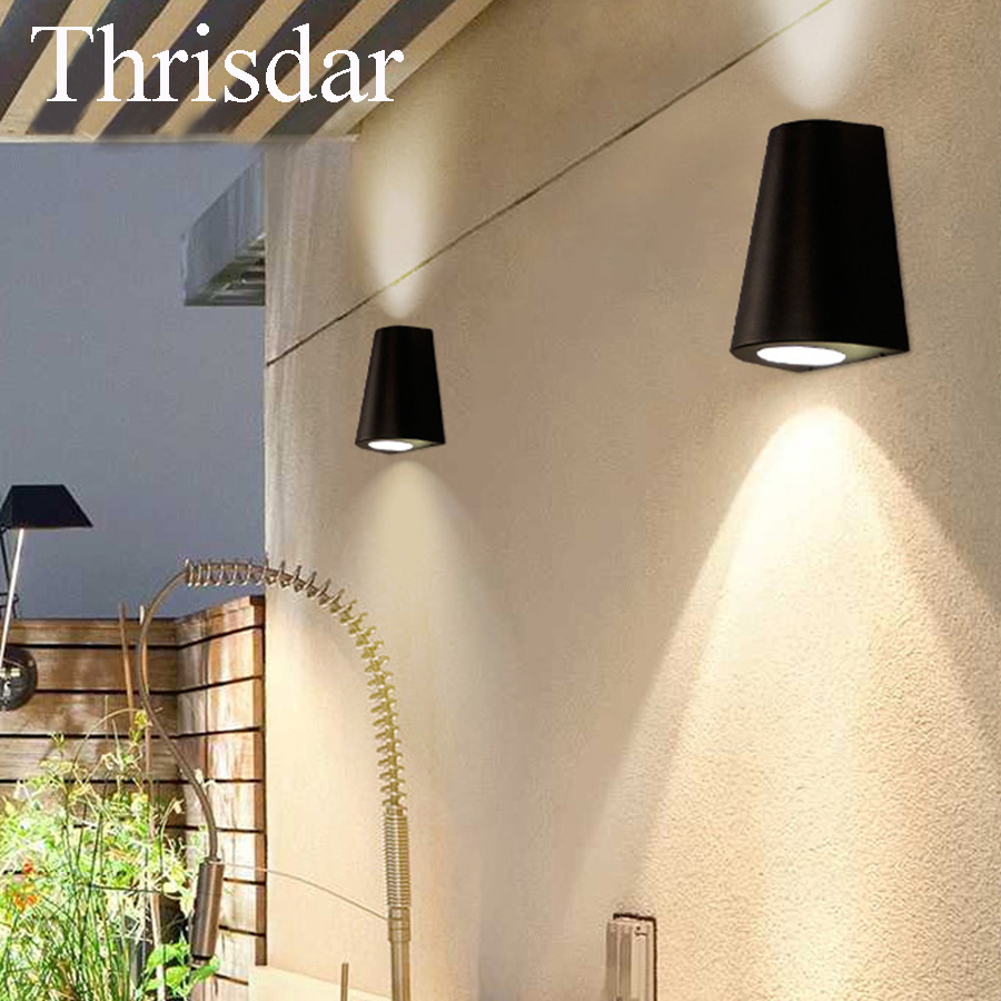 Thrisdar 10W Modern IP65 Waterproof Led Wall Light Aluminum Outdoor Up Down Wall Lamp Garden Corridor Porch Wall Sconce Lamps thrisdar 20w ip65 waterproof wall lamps 40leds outdoor garden porch wall sconce lamp corridor garden hotel pathway porch light