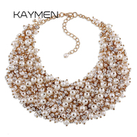 Hot Selling Luxury Rhinestone And Imitaion Pearl Choker Necklace For Wedding Top Quality Statement Necklace Mix