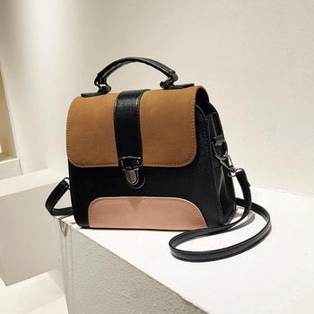 Casual Women PU Leather Sling Handbag Girls Crossbody Bag Patchwork Color Messenger Shoulder Bag Female Handbag 1