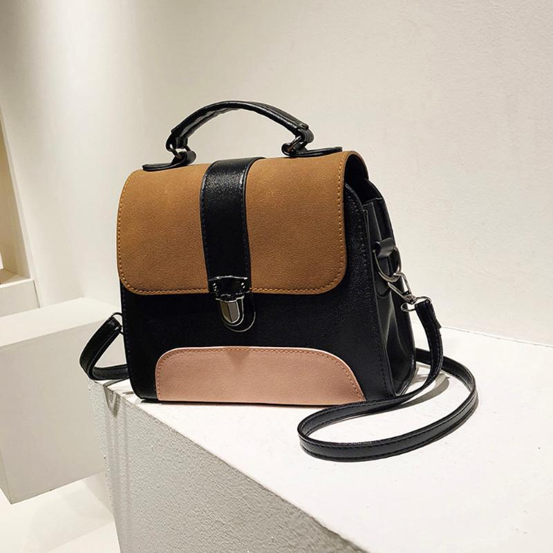 Casual PU Leather Sling Handbag Girls Crossbody Bag Patchwork Messenger Shoulder Bag Female Bolsa Feminina