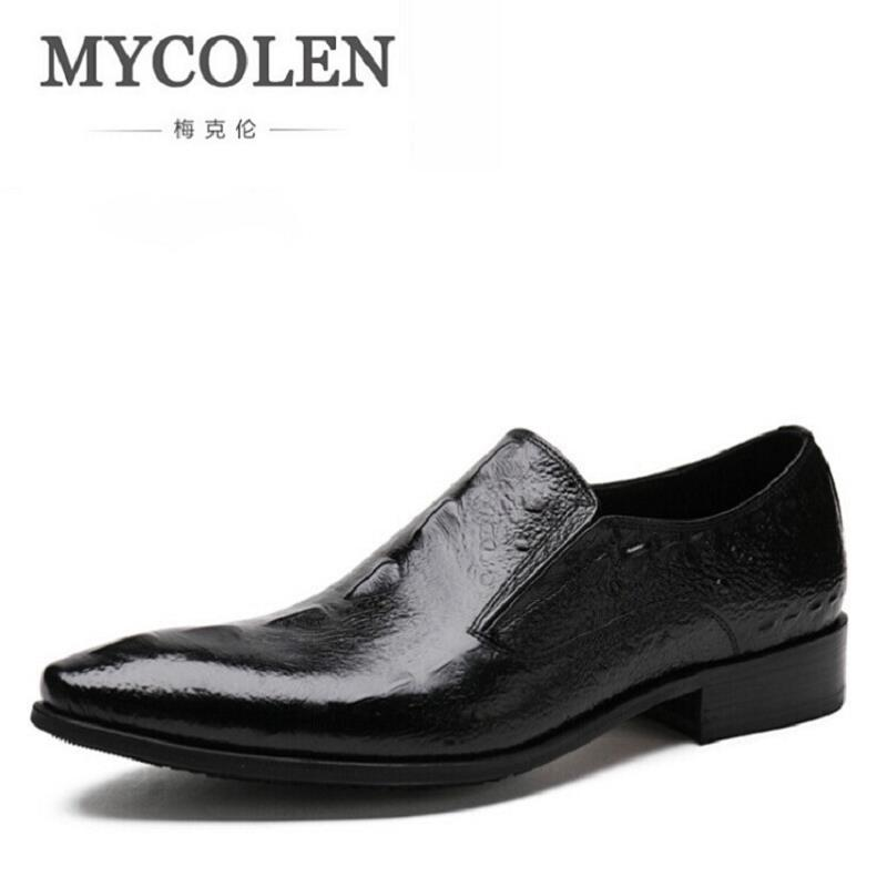 MYCOLEN Mens Dress Italian Leather Crocodile Wedding Shoes Luxury Brand Mens Loafers Genuine Leather Formal Loafers Moccasins 2017 new fashion italian designer formal mens dress shoes embossed leather luxury wedding shoes men loafers office for male