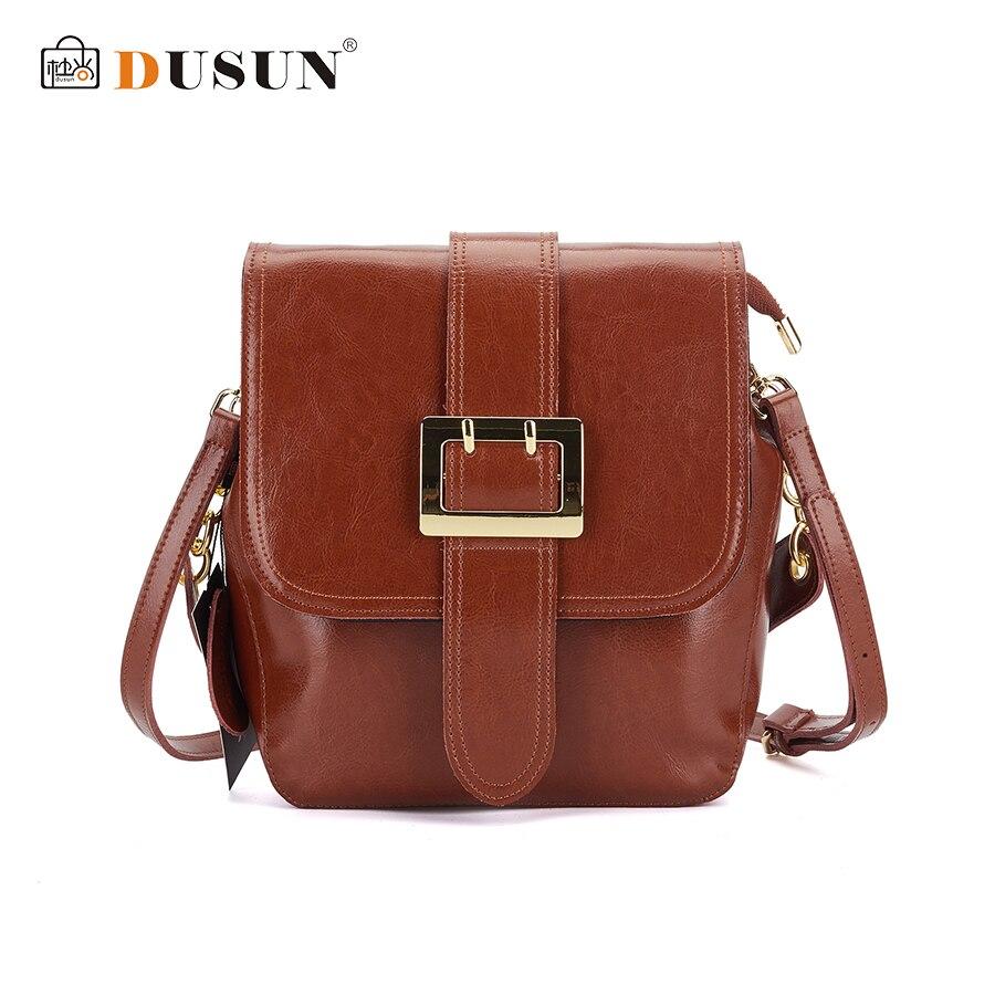 DUSUN Genuine Leather Messenger Bags Women Mental Lock Vintage Shoulder Bag Ladies Designer Female Black Crossbody Bags 2017
