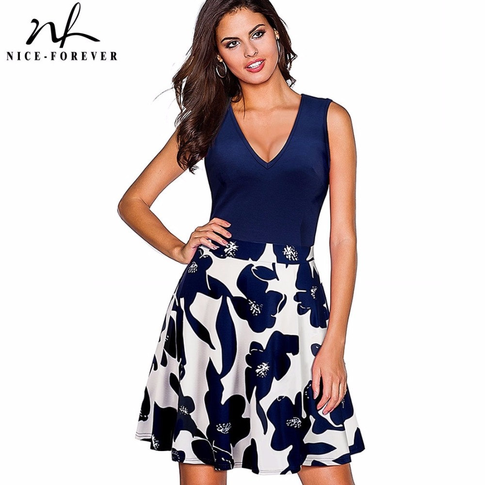 Nice-forever Vintage Floral Printed Sexy Deep V Vestidos A-Line Pinup Flare Summer Women Swing Dress A055