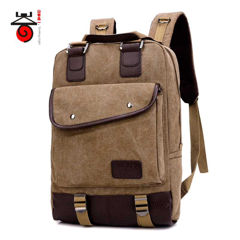 ecaf38bfda9 Senkey style Vintage Canvas Men Backpack Women Casual Travel School Bag  Rucksack for Teenagers Mochila Multi-function Laptop Bag